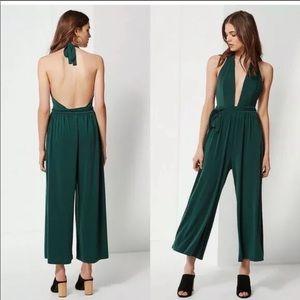 Urban Outfitters dark green halter jumpsuit